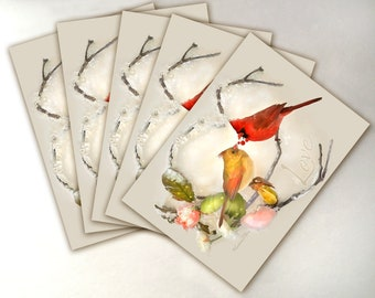 Cardinal Christmas Card Pack - Pack of 5 - Greeting Card - Cardinals Card - Cardinal Pair - Male and Female Cardinals