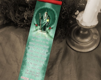 Yule Bookmark - Winter Solstice Art - Seasonal Bookmark - Bookmarker - Bookmarking - Bookmarks for Books - Book Mark - Reading Bookmark