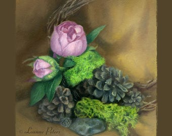 "Pinecones and Peonies 8"" x 8"" Archival Print"