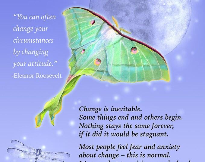 Featured listing image: Luna Moth Art - Moon Art - Mystical Art - Motivational Print - Self Help - Calming Art - Dragonfly Art