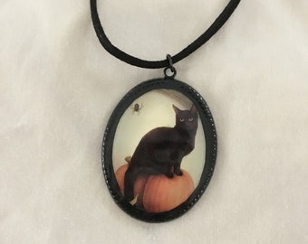 Black Cat Halloween Pendant, Black Cat Necklace, Halloween Jewelry, Witchy Pendant