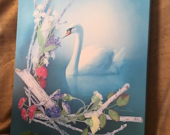 "Inner Grace by Leanne Peters 16""x20"" Canvas Gallery Wrapped Print - Swan Art - Shabby Chic - Spring Art"