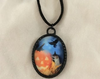 Jack O'Lantern, Rat in a Hat, and Raven Halloween Pendant - Halloween Necklace - Halloween Jewelry - Rat Art - Jack O'Lantern Art