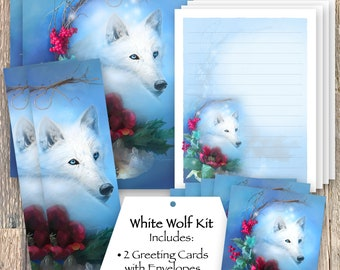Wolf Stationery Set, White Wolf Bookmark, Wolf Stickers, Wolf Greeting Cards