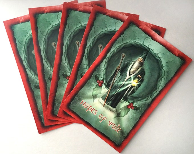 Featured listing image: Yule Cards - Pack of 5 - Low Holiday - Winter Solstice - Sabbat Cards