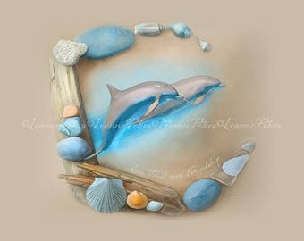 "Digital Screensaver - Desktop Wallpaper - Ipad Art Instant Download by Leanne Peters - ""Sea Angels"" - Seaside Art - Dolphin Art"