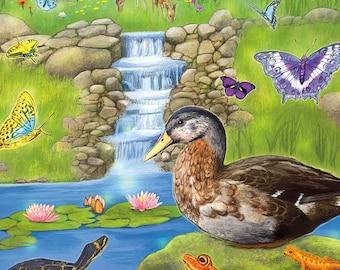 Deer and Fawn Art Postcard, Duck Butterflies Postcard, Turtle Frog Salamader Postcard, Water Lily Waterfall Art Postcard