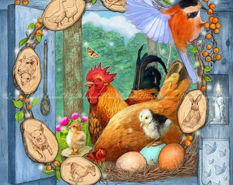 Chicken Art - Farm Art - Farmhouse Art - Cozy Farm Art - Bird Art - Small Farm Art - Spring Art - Farm Animals