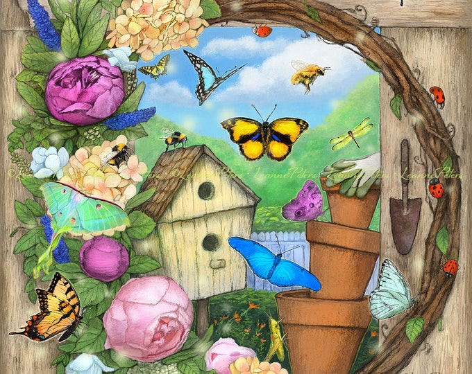 Featured listing image: Butterflies Art Print, Gardening Art Print, Birdhouse Art Print, Peonies Art Print