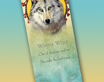 Winter Wolf Bookmark - Bookmarker - Bookmarking - Bookmarks for Books - Book Mark - Reading Bookmark - Wolf Art