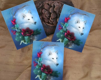 3 White Wolf Holiday Stickers - Christmas Art - Flower Art Stickers - Winter Solstice Art