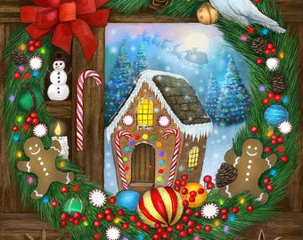 Christmas Art Print, Holiday Art, Gingerbread House and Wreath Art, White Dove Holiday Wreath