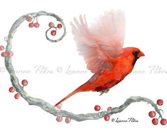 Winter Visitor by Leanne Peters - Cardinal Art - Bird Art