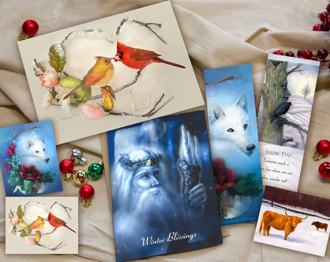 Featured listing image: Holiday Card and Bookmark Gift Set - Pack of 7 Items - Cardinal Holiday Greeting Card - Winter Art Stickers - Bookmark Set