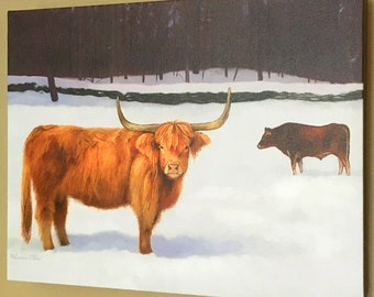 """Highland Cow Solid-Faced Canvas Wrapped 11""""x14"""" Print - Highland Cattle Art - Scottish Red Cow"""