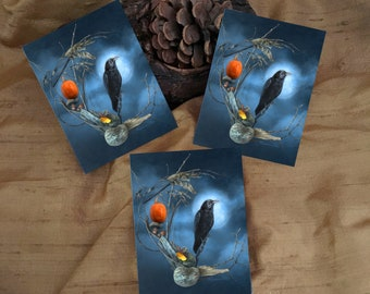 Raven Full Moon Stickers, Halloween Stickers, Witchy Stickers, Samhain Stickers