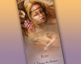 Ruby Bookmark - Bookmarker - Bookmarking - Bookmarks for Books - Book Mark - Reading Bookmark - Dreams - Falcon Art - Fantasy Art