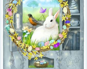 Digital Card Front - Easter Card - Wreath Art - White Rabbit Art - Spring - Primitive Cabinet Art - Farmhouse - by Leanne Peters