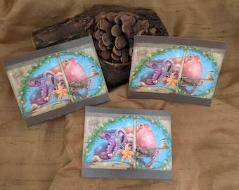 3 Octopus Stickers - Ocean Stickers - Starfish Art Stickers - Magical Art Stickers - Snail Stickers