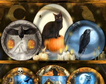 Halloween Animal Art Print, Black Cat Raven Owl Art Print, Spooky Whimsical Art Print, Witchy Art Print