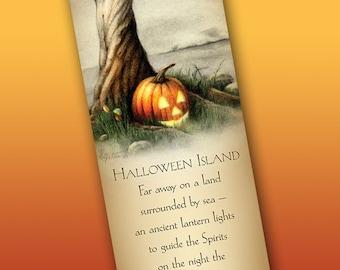 Halloween Bookmark, Pumpkin Art Bookmark, Witchy Bookmark, Jack O'Lantern Bookmark