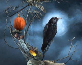Raven Moon Art Print, Halloween Art Print, Witchy Art Print, Wiccan Art Print
