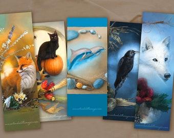 Animal Bookmark Value Set - 5 Bookmarks - Bookmark Set - Dolphin Bookmark - Wolf Bookmark - Fox Bookmark - Cat Bookmark - Raven Bookmark