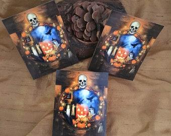 Halloween Stickers, Skull Stickers, Witchy Pumpkin Stickers, Samhain Stickers