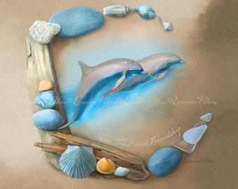 Dolphin Art Print, Ocean Art Print, Sea Glass Sea Shells Print, Beach Art
