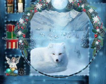 White Fox Art Print, Christmas Art Print, Magic Cabinet Art Print, Winter Scene Art