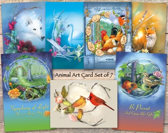 Animal Art Greeting Card Set, Wolf and Fox Cards, Swan Chicken Cardinal Cards, Frog and Duck Cards