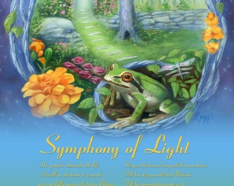 Frog Art Print, Garden Art Print, Summer Animal Art Print, Dragonfly Print