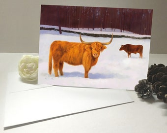 Highland Cow Christmas Cards - Greeting Card - Red Cow Card - Highland Cattle Art
