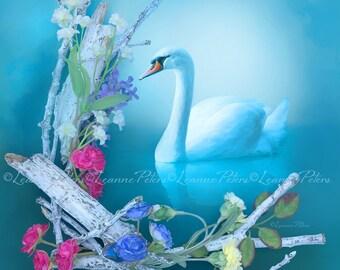 White Swan Art Print, Flower Print, Spirit Animal Print, Inspirational Print