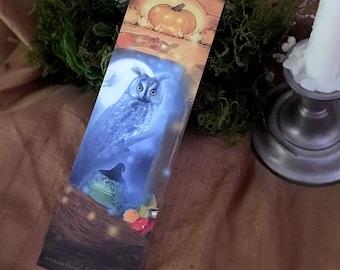 Halloween Owl Bookmark, Witchy Bookmark, Samhain Bookmark, Skull Pumpkin Toad Bookmark