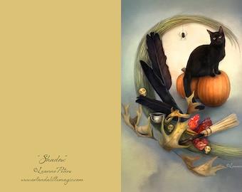 Halloween Black Cat Greeting Card, Pumpkin Card, Witchy Card, Samhain Card