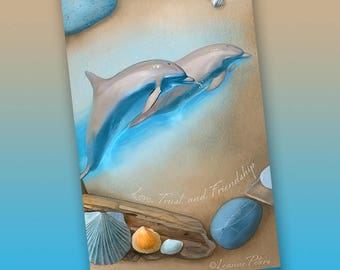 Dolphins Art Bookmark, Ocean Themed Bookmark, Sea Glass and Shells Bookmark, Beach Bookmark