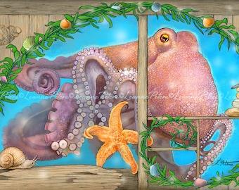 Octopus Art Print, Ocean Animals Art, Starfish Art Print, Stone Cairn Art