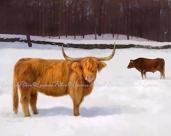 Scottish Highland Cattle Print, Highland Cow Art, Winter Animal Scene Print, Cow Print