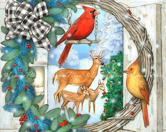 Christmas Art Print, Deer and Cardinals Art, Cardinal Pair Art, Buffalo Checked Gift Bow Holiday Wreath