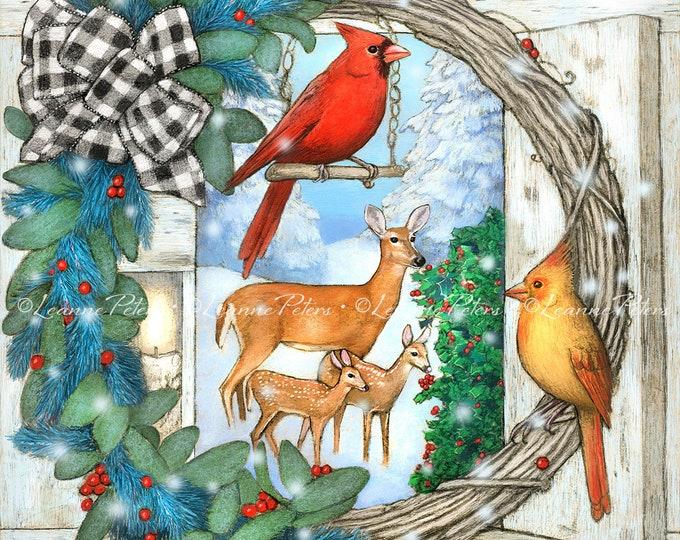 Featured listing image: Christmas Art Print, Deer and Cardinals Art, Cardinal Pair Art, Buffalo Checked Gift Bow Holiday Wreath