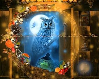 Halloween Owl Art Print, Witchy Art Print, Halloween Art Print, Skull Pumpkin Toad Art Print