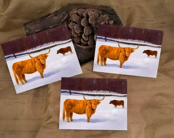 3 Highland Cow Stickers - Red Cow Stickers - Pasture Winter Scene Cow Stickers