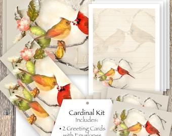 Red Cardinals Stationery Set, Cardinals Bookmark, Cardinals Stickers, Cardinals Greeting Cards