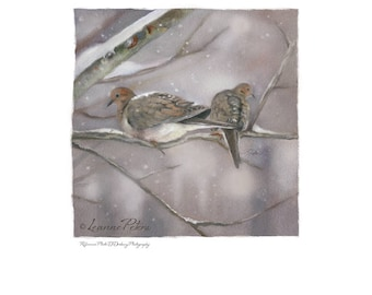 Digital Download Dove Art - Winter Doves by Leanne Peters