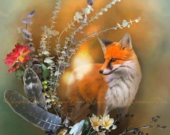 Fox Art Print, Flowers and Red Fox Print, Fairy Orb Print, Spirit Animal Print