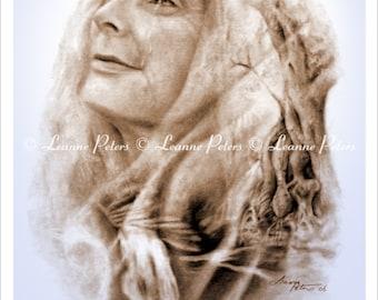 Crone Art Print, Wise Woman Print, Wiccan Art Print, Nature Spirit Print