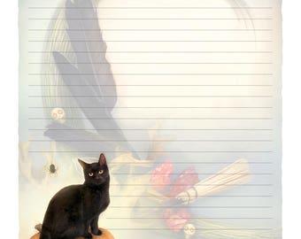 Halloween Digital Stationery, Black Cat Digital Stationary, Witchy Stationery, Samhain Stationery