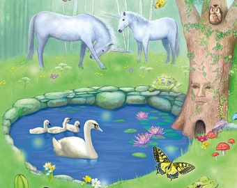 Fantasy Garden Art Postcard, Unicorn Butterfly Postcard, Frog and Swan Postcard, Dragonfly Postcard