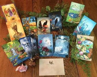 Animal Magical Postcard Set, Black Cat Raven Wolf Art Postcards, Winter and Summer Solstice Cards, Swan Butterflies Duck Raccoon Postcards